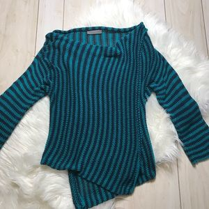 Anthro Wooden Ships Blue Striped Wrap Sweater